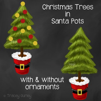 Santa Christmas Tree, christmas card art Printable Tracey Gurley Designs