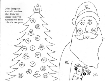 Santa Christmas coloring sheet - Even and odd numbers FREE! | TpT