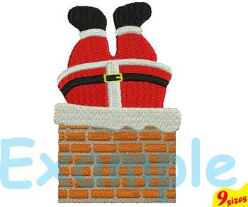 Santa Claus Christmas Chimney Designs for Embroidery 4x4 5x7 hoop 121b