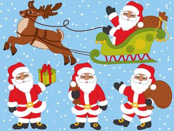 Santa Claus Clipart - Digital Vector Santa, Deer, Claus, Sledge, Santa Clip Art