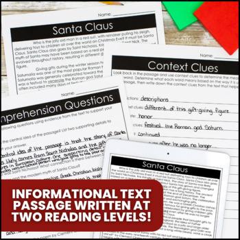 Santa Claus Differentiated Reading Passage & Activities