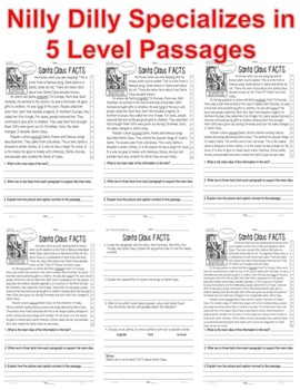 Santa Claus CLOSE READING 5 LEVELED PASSAGES Main Idea Fluency Check TDQs & More