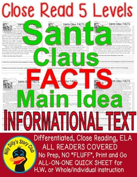 Santa Claus FACTS Close Read 5 levels ALL READERS COVERED