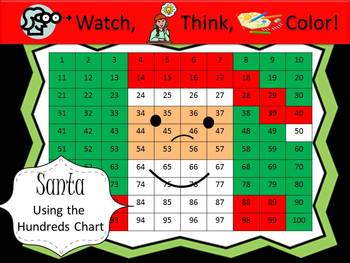 Santa Claus Hundreds Chart Fun - Watch, Think, Color!