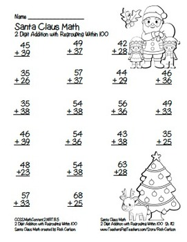 """Santa Claus Math"" 2 Digit Addition With Regrouping - Common Core! (black line)"