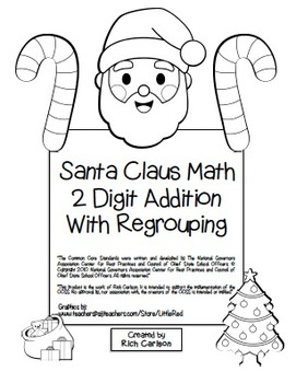 """""""Santa Claus Math"""" 2 Digit Addition With Regrouping - Comm"""