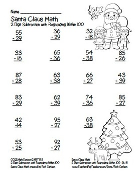 """Santa Claus Math"" 2 Digit Subtraction  Regrouping  Common Core! (black line)"