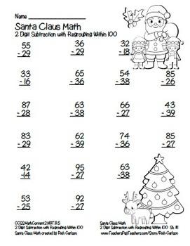 """""""Santa Claus Math"""" 2 Digit Subtraction Regrouping Common Core (color &blackline)"""