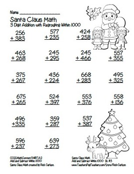 """Santa Claus Math"" 3 Digit Addition With Regrouping - Common Core! (black line)"