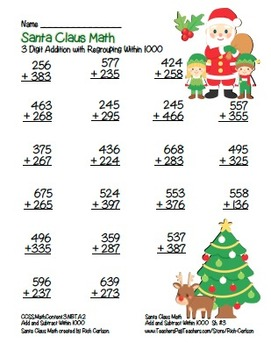 """""""Santa Claus Math"""" 3 Digit Addition With Regrouping - Common Core! (color)"""