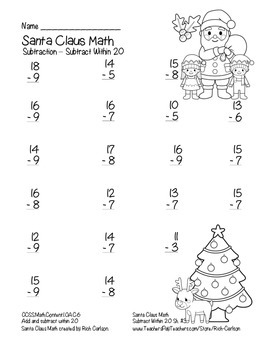 """Santa Claus Math"" Subtract Within 20 - Common Core  - Fun! (black line)"
