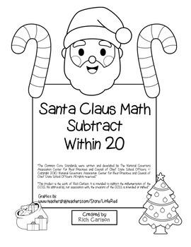 """Santa Claus Math"" Subtract Within 20 - Common Core  - Fun"