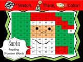 Santa Claus Reading Number Words Practice - Watch, Think, Color!