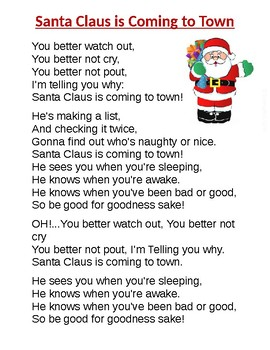 Santa Claus is Coming to Town Song Printable by Early Childhood Education