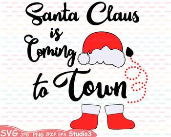 Santa Claus is coming to Town clipart Christmas Holidays Winter hat shoes 65sv