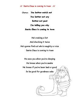 Santa Claus is coming to town, lyrics comprehension.