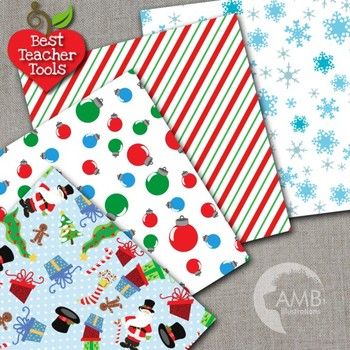 Christmas Digital Papers, Santa Claus Papers and Backgrounds AMB-512