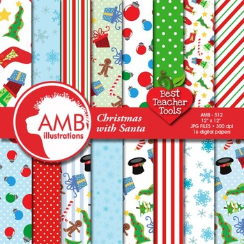 Digital Papers - Christmas Santa Claus papers and backgrou