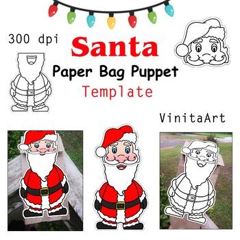 Santa Claus paper bag puppet template