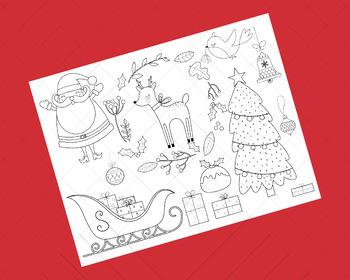 Santa Clip Art and Coloring Activity   Christmas Printable