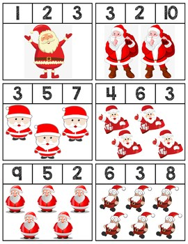 Santa Clip Cards | Numbers 1-10