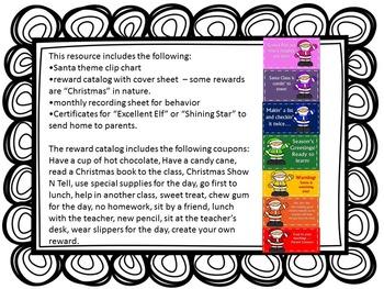 Santa Clip Chart and Christmas Reward Catalog