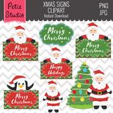 Santa Clipart, Santa Sign, Penquin Clipart, Christmas Clipart- Winter123