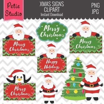 Santa Clipart, Santa Sign, Penquin Clipart, Christmas Clip
