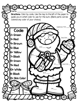 santa color by code addition sheet