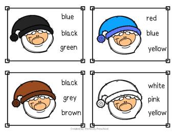 Santa Color Sight Word Clip Cards