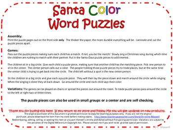 Santa Color Word Puzzles for Christmas