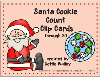 Santa Cookie Count Clip Cards through 20