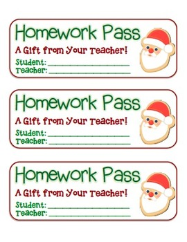 """Santa Cookie"" Homework Pass –Holiday FUN! (full color & black line version)"