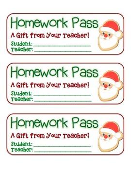 """Santa Cookie"" Homework Pass –Holiday FUN! (full color version)"