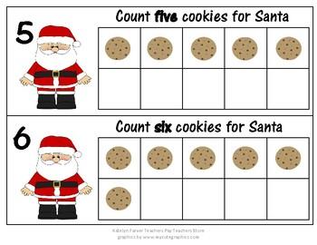 Santa Ten Frames (Numbers 1-10): Counting Cookies
