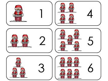 Santa Counting Printable Flashcards. Preschool- Kindergarten Math.