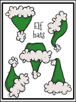 Santa & Elf Hats Build A Bunting Clipart