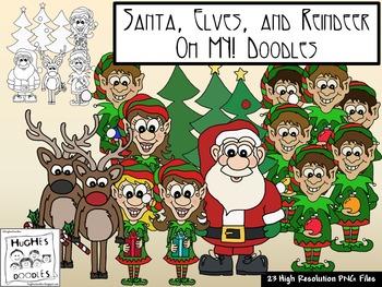 Santa, Elves, and Reindeer OH MY! Doodles - Hughes Doodles