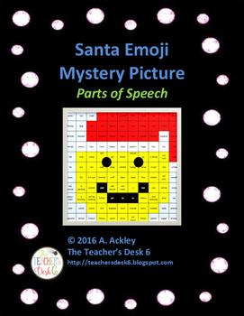Santa Emoji Mystery Picture Parts of Speech