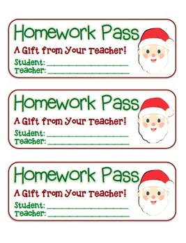 """Santa Face"" Homework Pass –Holiday FUN! (full color & black line version)"