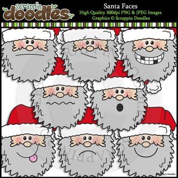 Santa Faces Clip Art & Line Art