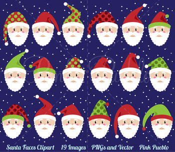 Santa Faces Clipart Clip Art, Christmas Clipart, Christmas Clip Art