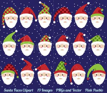 Santa Faces Clipart Clip Art, Christmas Clipart, Christmas