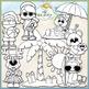 Santa & Friends On Vacation Clip Art - Santa Beach Clip Art - CU Clip Art & B&W