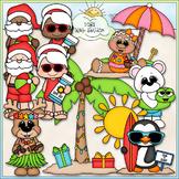 Santa & Friends On Vacation - CU Clip Art & B&W Set