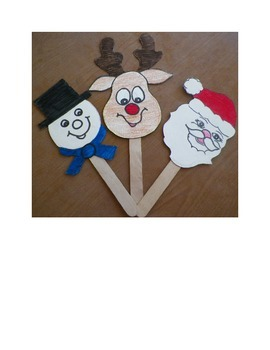 Santa, Frosty and Rudolph stick puppets or ornaments