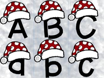 Alphabet Match Christmas Santa Hat