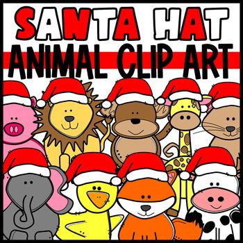Santa Hat Animals Clip Art