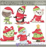 Santa Hats and Scarves Christmas Clip Art