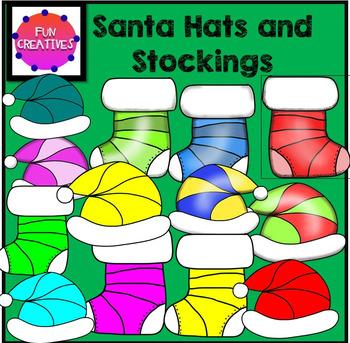 Santa Hats and Stocking Clip Art